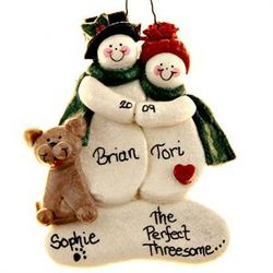 Dough Snow Couple with Tan Dog Ornament