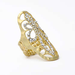 Gold and Crystal Long Filigree Stretch Ring