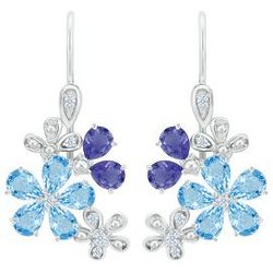 Pear-Shaped Blue Topaz & Iolite Sterling Silver Flower Earrings