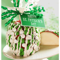 St. Patrick's Day Caramel Apple with Chocolate Candies