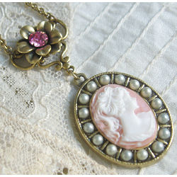 Lady Mary Angel Pink Cameo Necklace