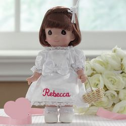 Precious Moments Brunette Personalized Flower Girl Doll