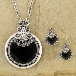 Black and Silver Scroll Necklace and Earring Set