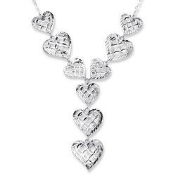 Heart Diamond Cut Filigree Necklace in Sterling Silver