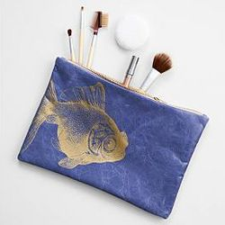 Navy with Fish Handcrafted Leather Pouch