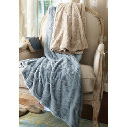 Vine Motif Faux Fur Throw
