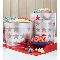 Patriotic Red, White and Blue Popcorn Tin