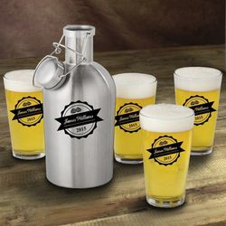 Personalized Bottle Top Stainless Steel Growler and Pint Glasses