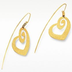 Golden Silver Etched Heart Drop Earrings