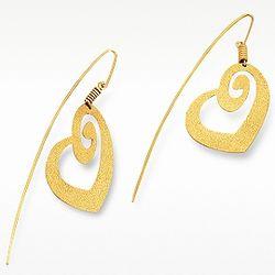 Golden Silver Etched Heart Drop Earrings