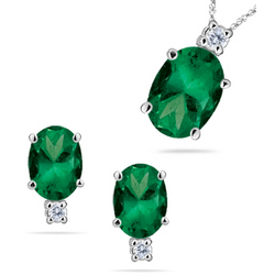 Diamonds and Emeralds Set in 14K White Gold