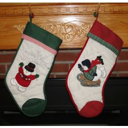 Personalized Snowplay Snowmen Christmas Stocking
