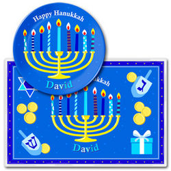Personalized Hanukkah Meal Time Plate Set