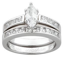 Sterling Silver Marquise Cubic Zirconia Engraved Wedding Set