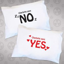 Yes and No Double Sided Pillowcase