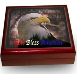 Personalized Patriotic Photo Tile Keepsake Box