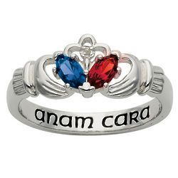 Personalized Couple's Birthstone Anam Cara Claddagh Ring