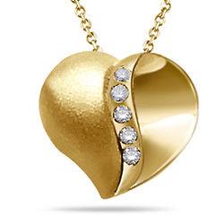 Diamond Five Stone Satin Finish Heart Pendant