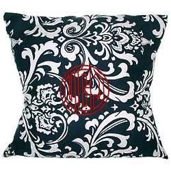 Navy Baroque Personalized Pillow