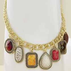 Colorful Stones Charm Necklace