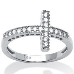 Cubic Zirconia Horizontal Cross Ring in Sterling Silver