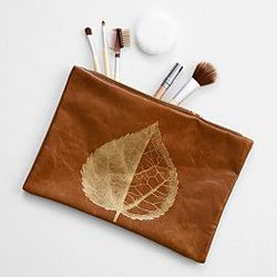 Brown with Leaf Handcrafted Leather Pouch
