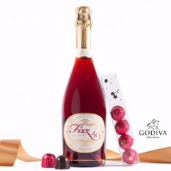 Fizz 56 Sparkling Red and Godiva Cherry Cordials Gift Set