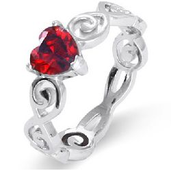Sterling Silver Heart Swirl Birthstone Ring