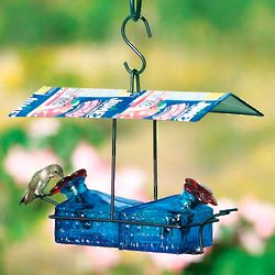 Handcrafted Sheltered Blue Basket Hummingbird Feeder