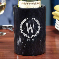 Statesman Personalized Black Marble Wine Chiller