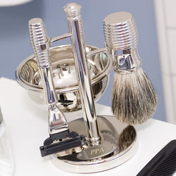 Personalized Razor, Badger Brush, and Soap Dish Set