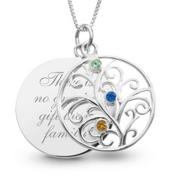 Sterling Silver 3 Birthstone Family Necklace with Keepsake Box