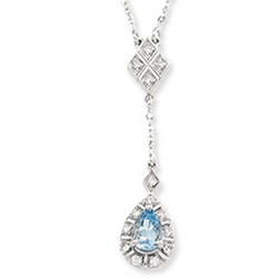 14k White Gold Aquamarine and Diamond Drop Pendant