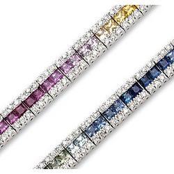 14K White Gold Rainbow Gem 1.25Ct Diamond Tennis Bracelet