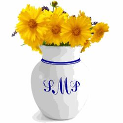 White and Blue Monogrammed Vase
