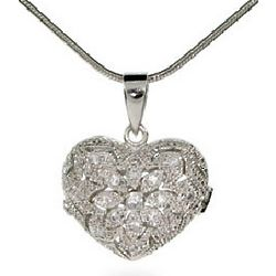 Sterling Silver and Cubic Zirconia Heart Locket Necklace