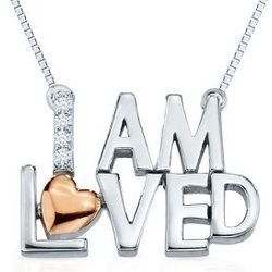 Sterling Silver & Rose Gold I Am Loved Diamond Accent Necklace