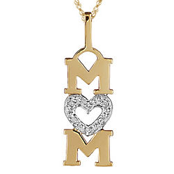 Mom's Diamond Heart Pendant in 14K Yellow Gold