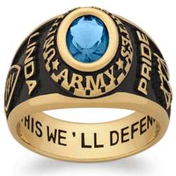 Women's Yellow Celebrium Oval Birthstone Military Ring