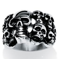 Men's Skulls Ring in Antiqued Stainless Steel