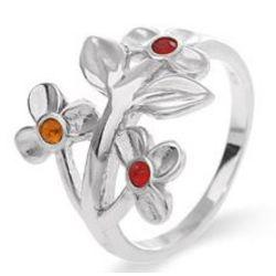 3 Stone Flower Blossom Sterling Silver Birthstone Ring