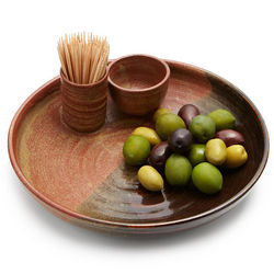 Stoneware Olive Serving Dish