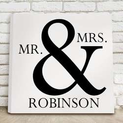 "Mr & Mrs 14"" Personalized Black and White Canvas Print"