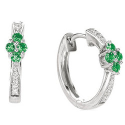 14k White Gold Huggie Emerald Prong Diamond Earrings