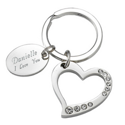 Personalized Silver Heart with Crystals Key Chain