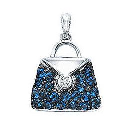 14K White Gold Diamond Sapphire 2D Purse Bracelet Charm