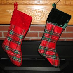 Personalized Velvet Cuff Dupion Plaid Christmas Stocking