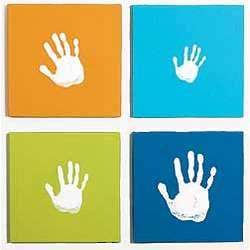 Blue Handprint Wall Art Set