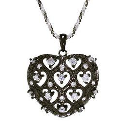 Black Rhodium and Cubic Zirconia Vintage Heart Pendant