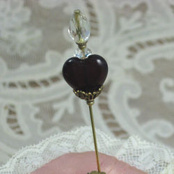Antiqued Replica Brass Garnet Sweetheart Hatpin